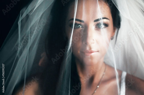 Cuadros en Lienzo Stunning bride with black hair looks hidden under a veil