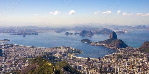 Photo  Panoramic view of sunset in Rio de Janeiro . View from the top.
