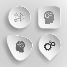4 Images: Loudspeaker, Human Brain, Gears. Tehnology Set. White