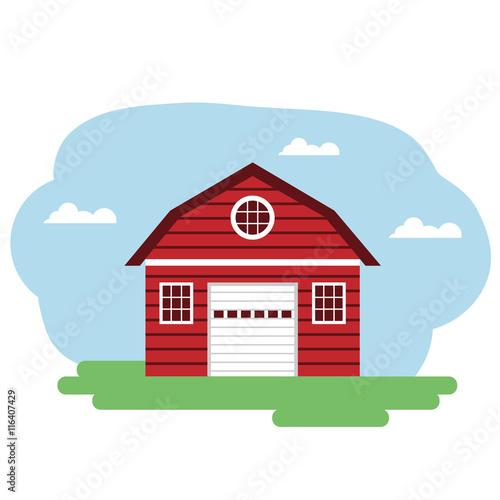 Papiers peints Piscine Vector illustration of red farm building.