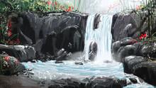 Digital Painting Waterfall In The Vibrant Atmosphere.