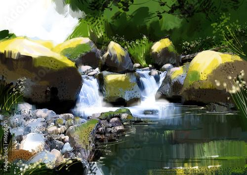 Foto op Aluminium Draken Digital painting waterfall in the vibrant atmosphere.