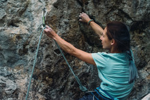 Climber With Rope And Quickdraw