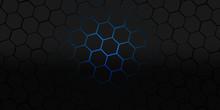 Black And Blue Hexagons Modern Background Illustration