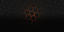 Black And Orange Hexagons Modern Background Illustration