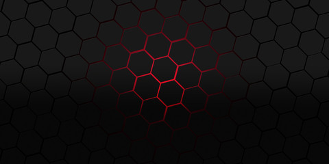 black and red hexagons modern background illustration