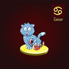 Cancer Zodiac Sign In The Form Of Cute Cat