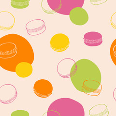 Fototapeta Macaroon seamless pattern sweet food pink green yellow orange color graphic art illustration vector