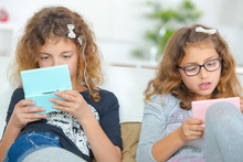 Two Girls Playing Computer Games