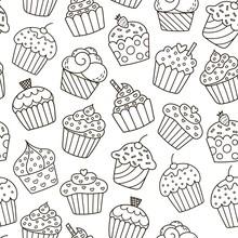 Monochrome Cupcakes Seamless Pattern
