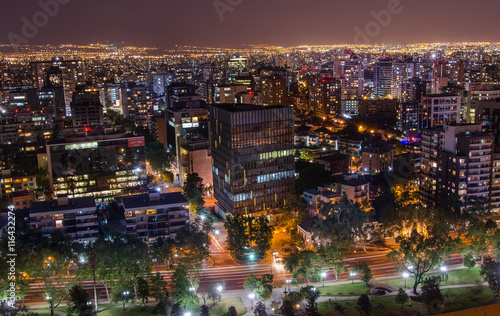 Staande foto Las Vegas The skyline of Santiago de Chile by night.