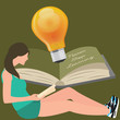never stop learning, girl reads book, light bulb shines