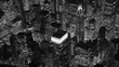 aerial establishment shot of new york city skyline. business buildings district