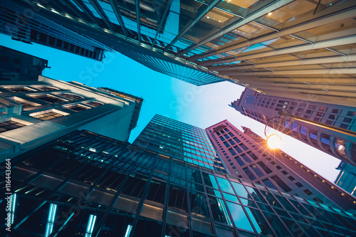 Garden Poster City building Modern commercial building in night