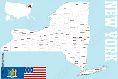 Photo  A large and detailed map of the State of New York with all counties and main cities