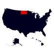 North Dakota State in the United States map