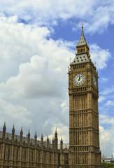Big Ben Parliament Building and Cloudy Sky, London, England
