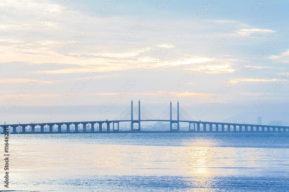 Penang Bridge view during sunrise, George Town Penang, Malaysia
