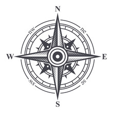 Wind Rose Or Compass Icon On W...