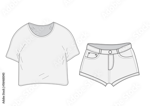 T Shirt And Shorts Set Sketch Swag Style Clothes Hand Drawing