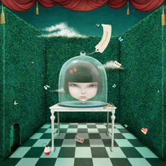 Panel Szklany Fantasy Conceptual illustration head of girl under glass cover.