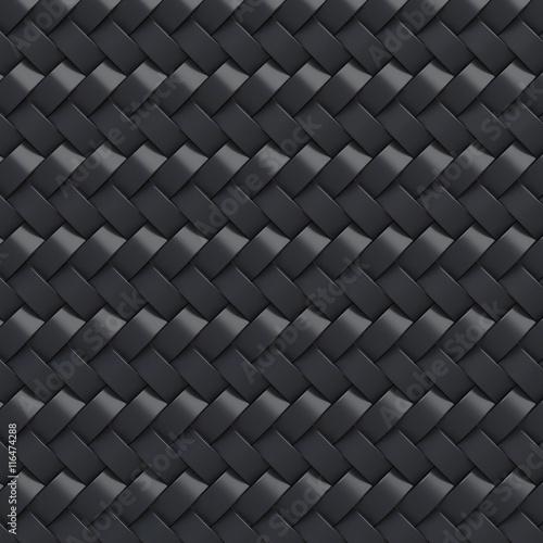 Fotobehang Leder Black abstract tile background. 3D
