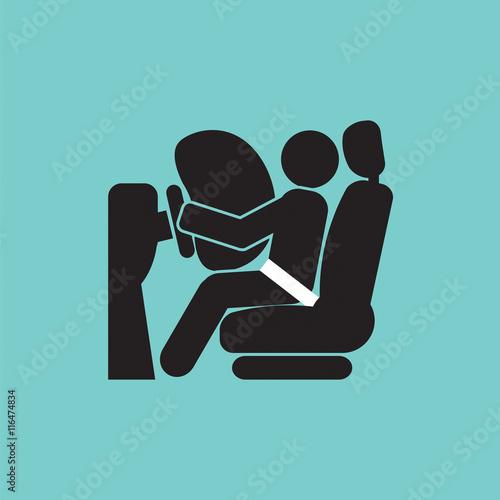 Airbag Car Safety Equipment Vector Illustration. Canvas Print