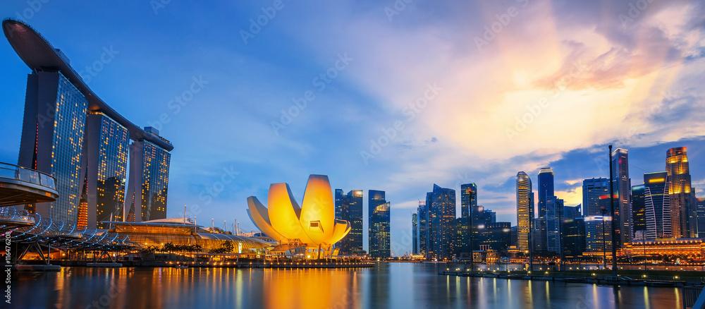 Fototapeta Landscape of the Singapore financial district