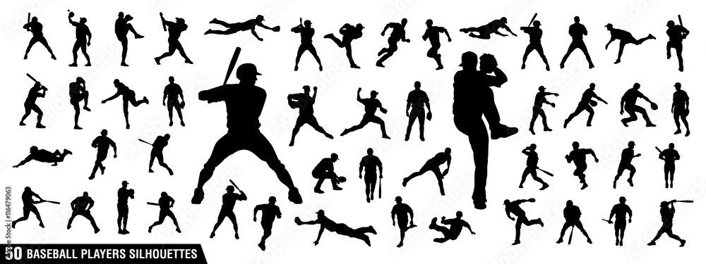 Fototapety, obrazy: Vector set of Baseball Players Silhouettes