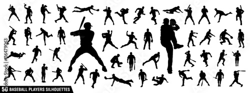 Vector set of Baseball Players Silhouettes Wallpaper Mural