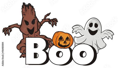 Fényképezés  letter, boo, tree, wooden, evil, ghost, spirit, holiday, fear, 31, pumpkin, hal