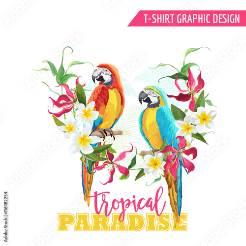 Fotobehang Papegaai Tropical Graphic Design. Parrot Bird and Tropical Flowers. T-shirt Graphic