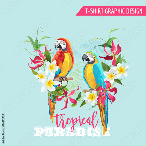 Poster Parrot Tropical Graphic Design. Parrot Bird and Tropical Flowers. T-shirt Graphic