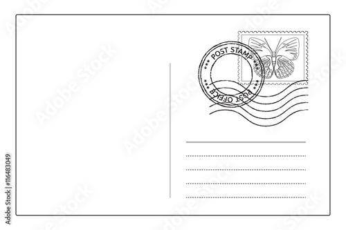 Fotografía  Postcard reverse side with postal stamps