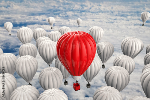 Fotografie, Obraz  leadership concept with red hot air balloon