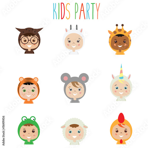 Photo Stands Illustrations Kids Party Outfit. Children in Animal Carnival Costumes