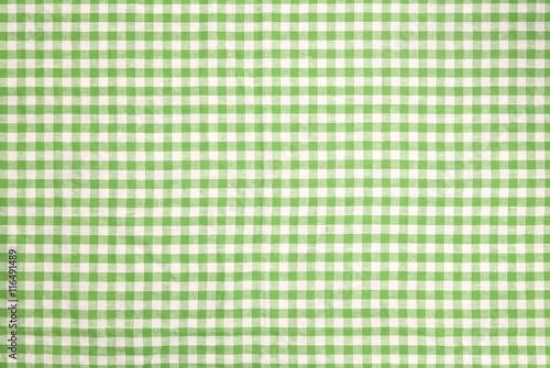 Fotografie, Obraz  Green checkered tablecloth background
