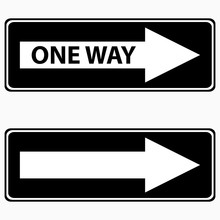 Black One Way Sign