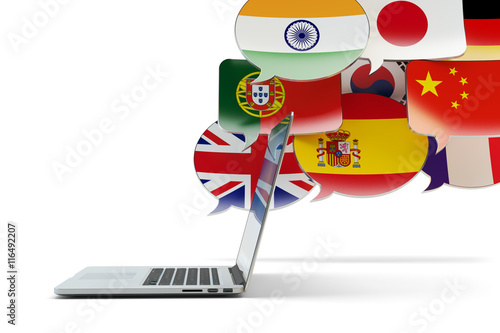 Global communication technology, translation and online messaging concept, speech bubbles with national flags of world countries and modern laptop computer isolated on white