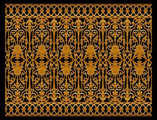 FototapetaOrnament elements, vintage gold floral background
