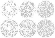 Set Of Radiating And Concentric Lines Element. Random, Irregular