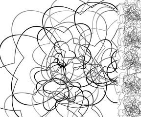 Curly random lines geometric, artistic illustration, monochrome