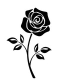 Vector black silhouette of a rose flower with stem isolated on a white background.