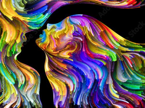 Fototapeta Wielokolorowe smugi tworzące dwie twarze, abstrakcja obraz