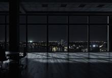 Night Office Interior . Mixed Media