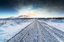 Winter Railroad Built On Permafrost.