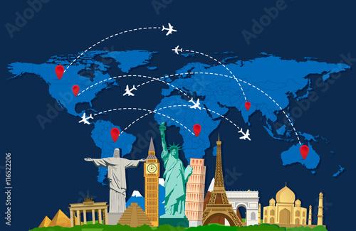 Plakat Światowa mapa podróży z samolotami i zabytkami. Ilustracji wektorowych. Nowoczesna płaska konstrukcja.