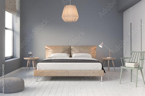 Współczesna skórzana sypialnia z białą drewnianą podłogą