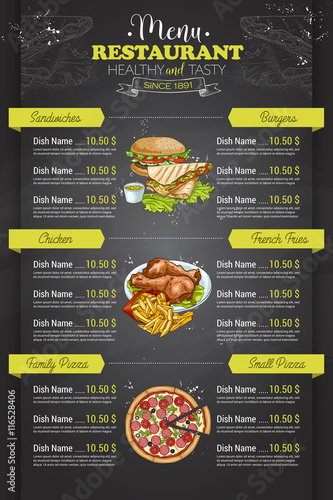Fototapeta Restaurant vertical color menu obraz