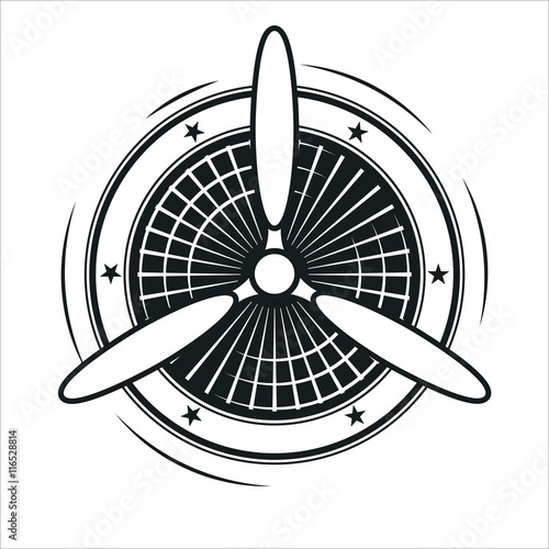 Fotomural Airplane propeller emblem. Aviators club logo